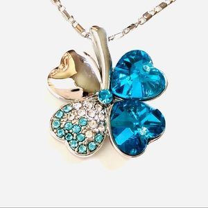 "Four Leaf Clover Necklace 18"" Swarovski Crystal"